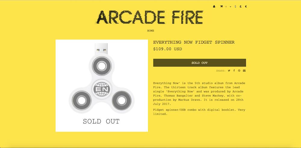 Arcade Fire's promotional fidget spinners were immediately