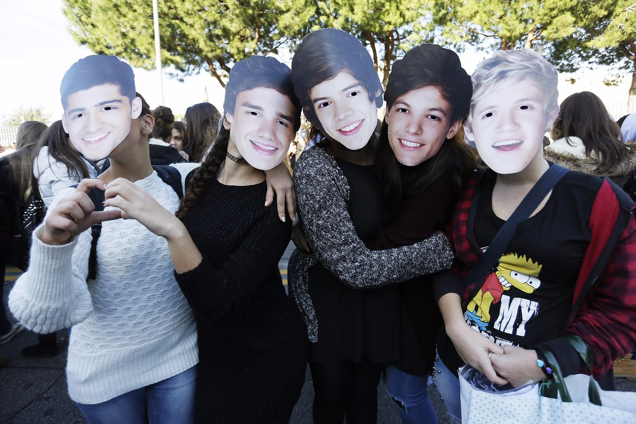 Fans wait for One Direction in Rome, Italy, in 2014.