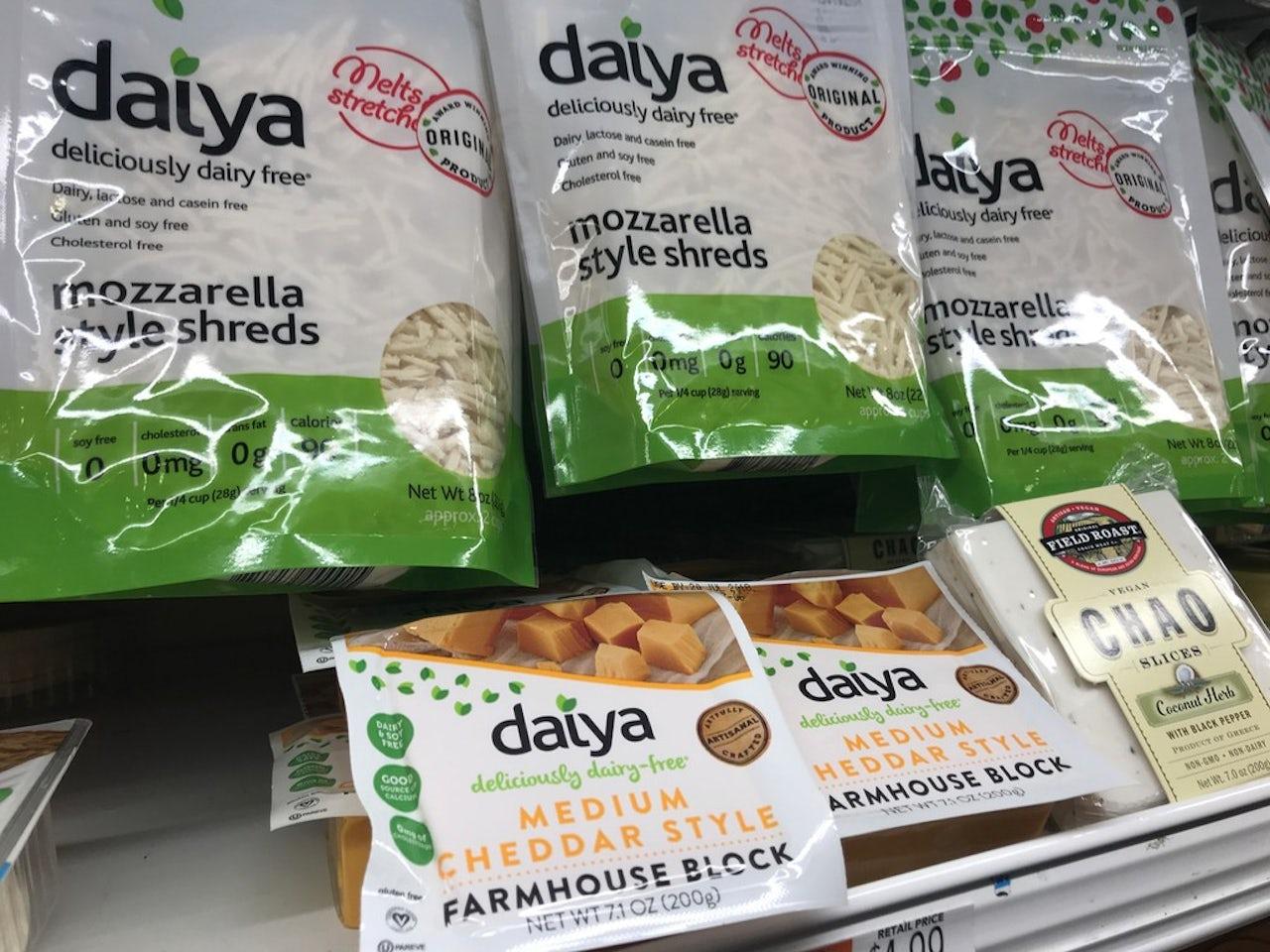 Daiya cheese on a store shelf.