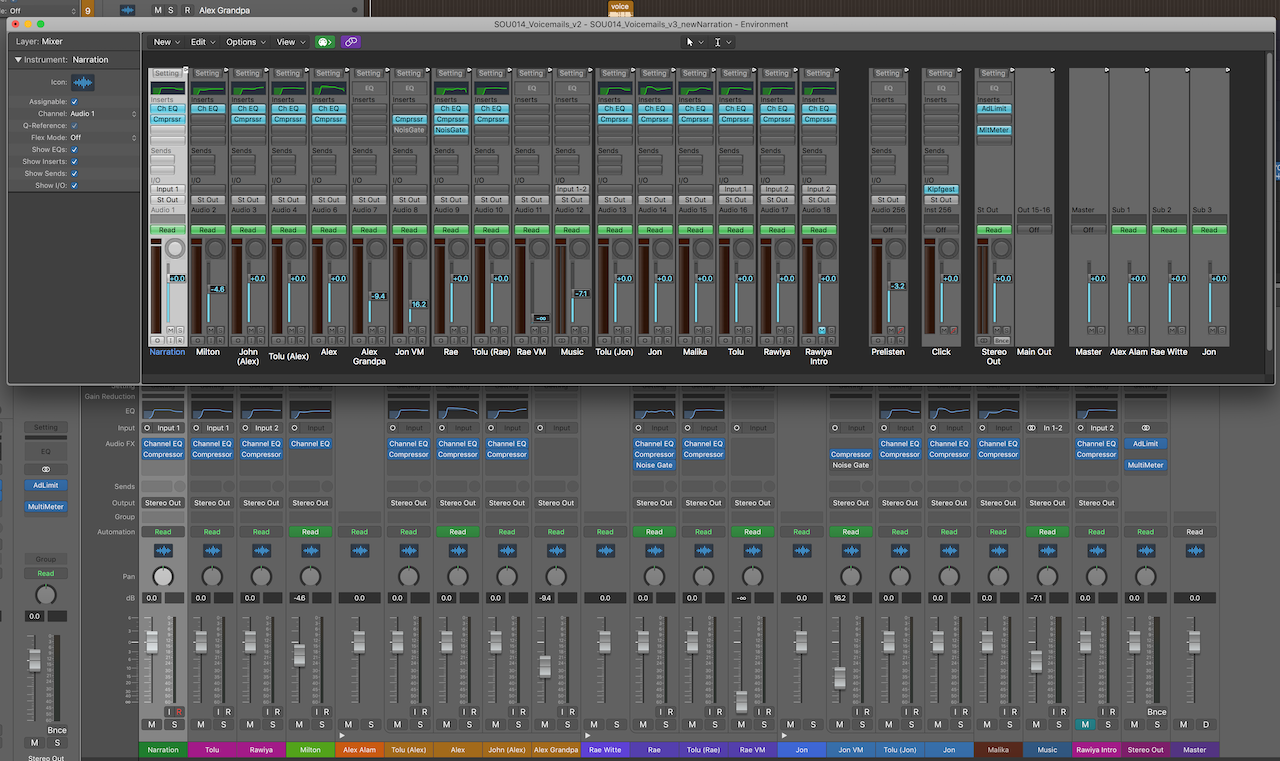 Two versions of the Logic Pro mixer running simultaneously (Logic Pro X, released 2013)