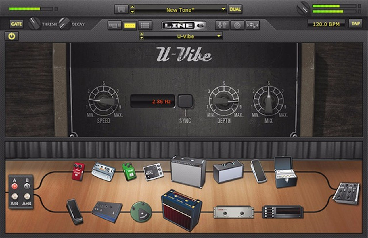 The U-Vibe amp simulator (not to be confused with the vibrator of the same name), in Pod Farm 2.5 (released 2011)