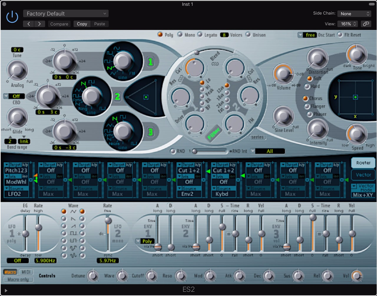 The ES2 synthesizer in Logic Pro X (released 2013)