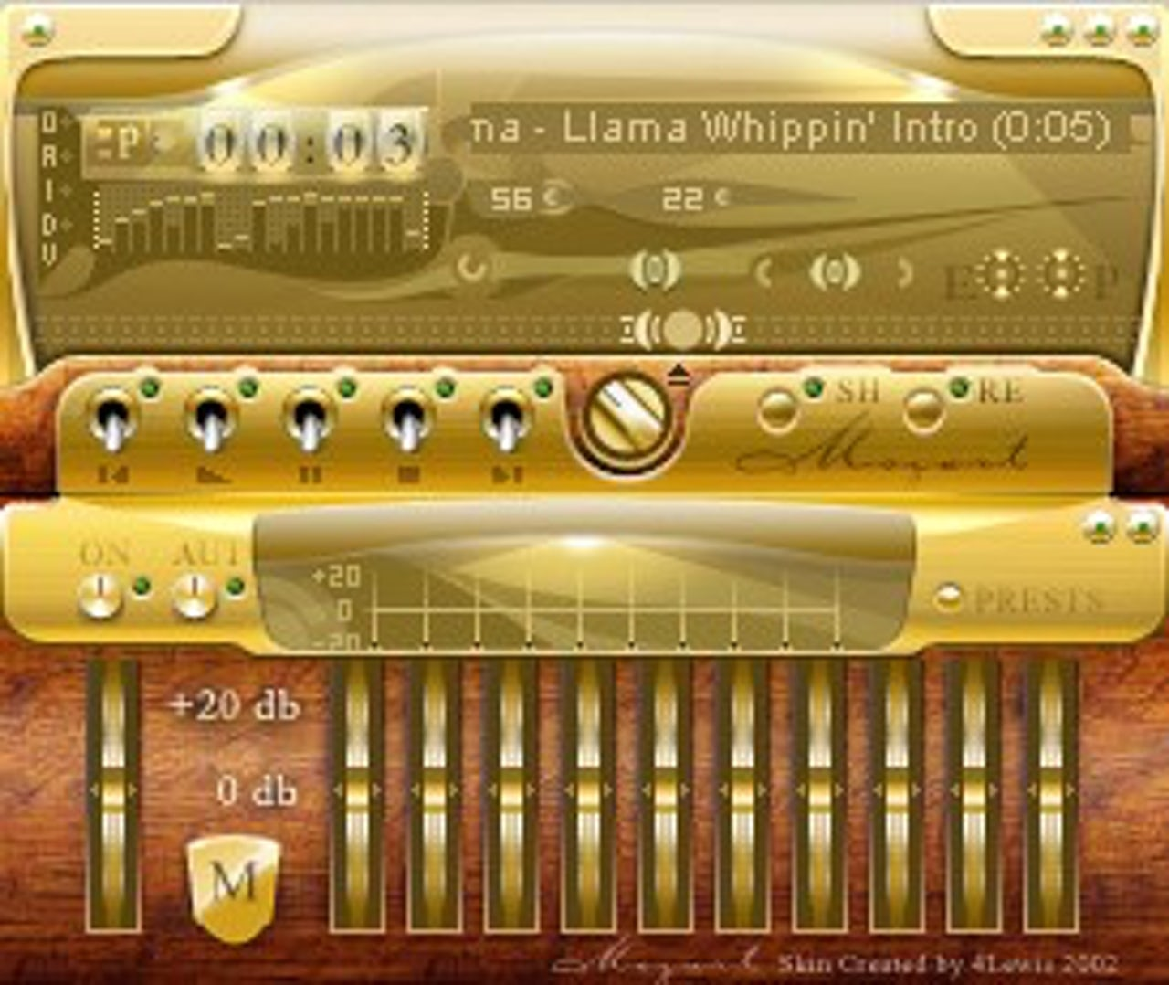 This Winamp skin evokes the glistening art deco aesthetic of the 1920s.