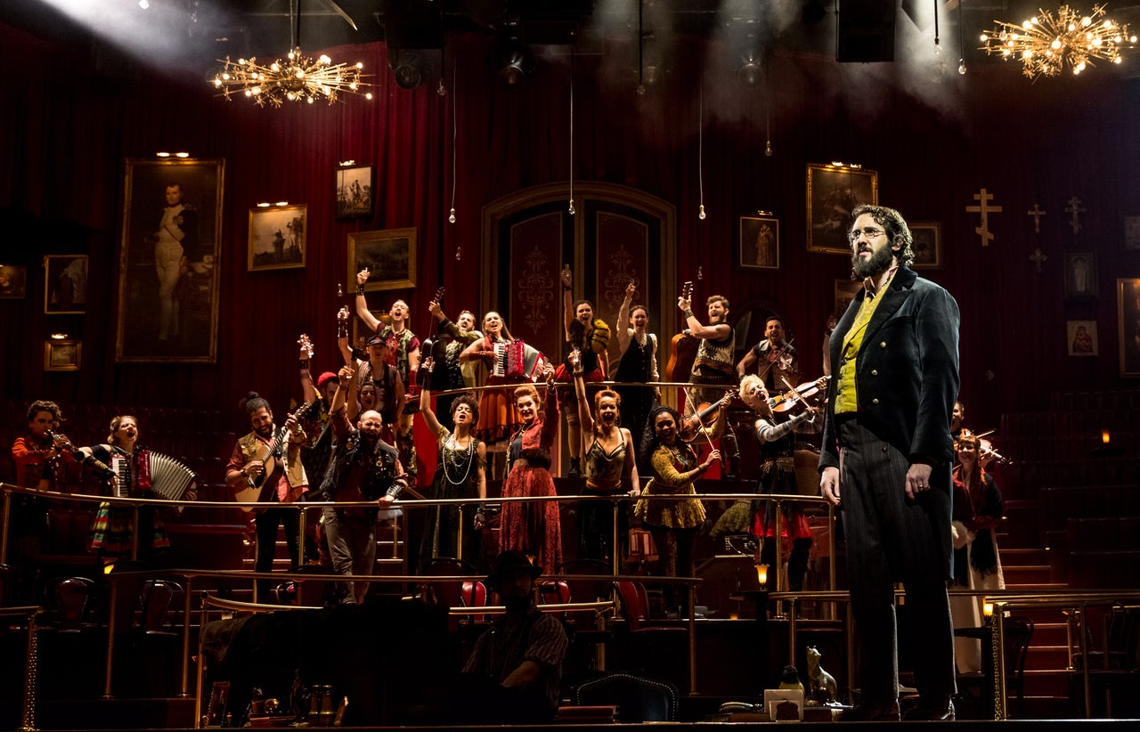 Josh Groban, far right, as Pierre.