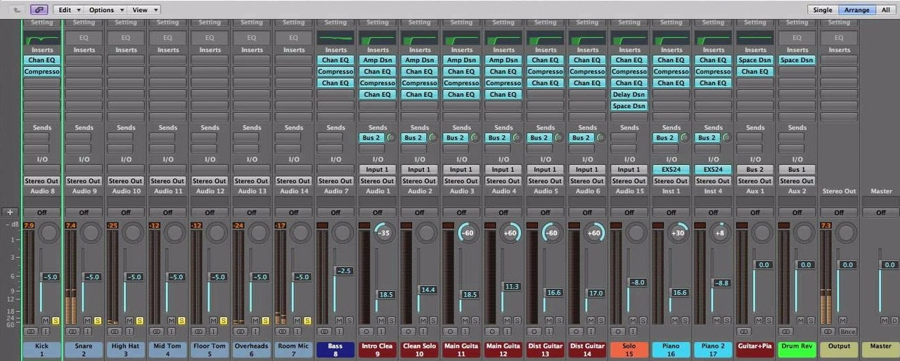 The Mixer window in Logic Pro 9 (released 2009)