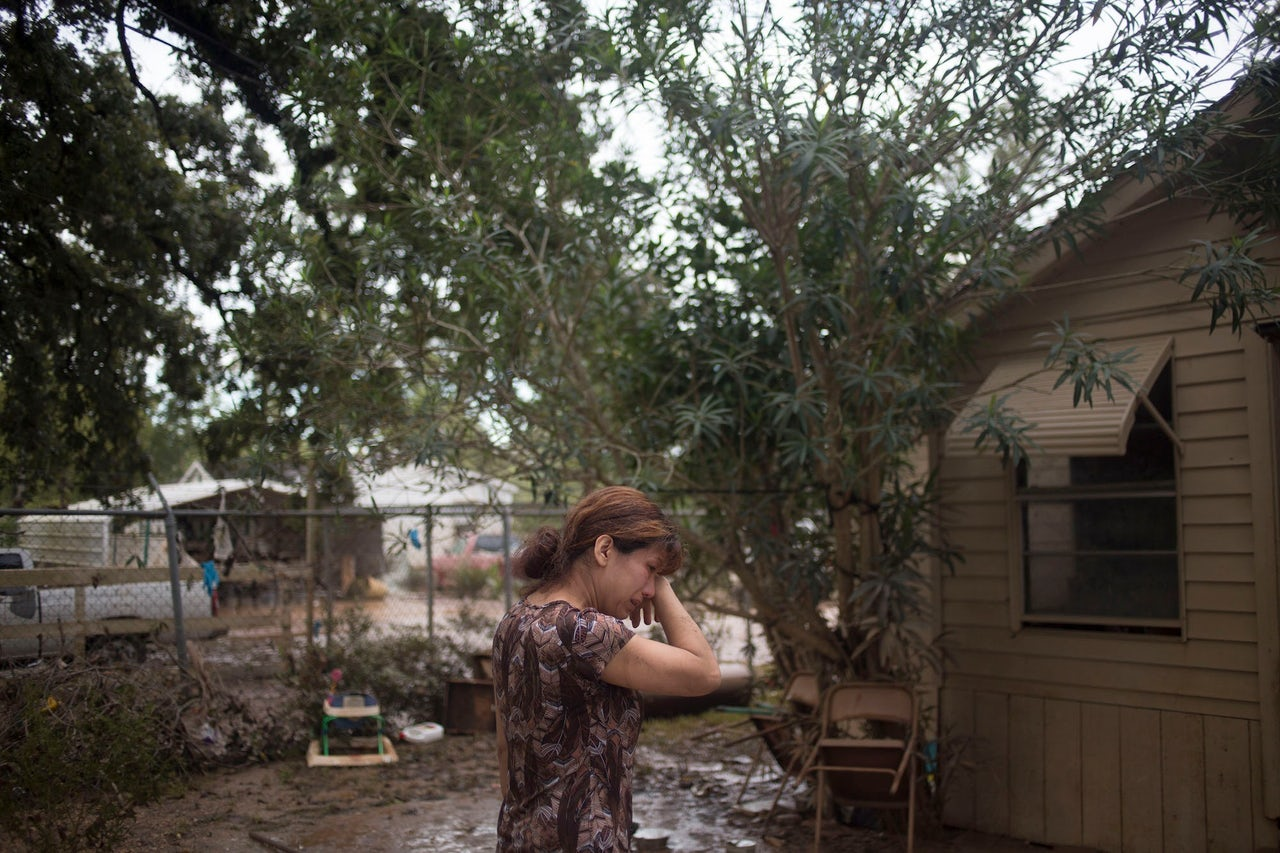 Flor Portilla outside her home in East Houston, Texas after Hurricane Harvey.