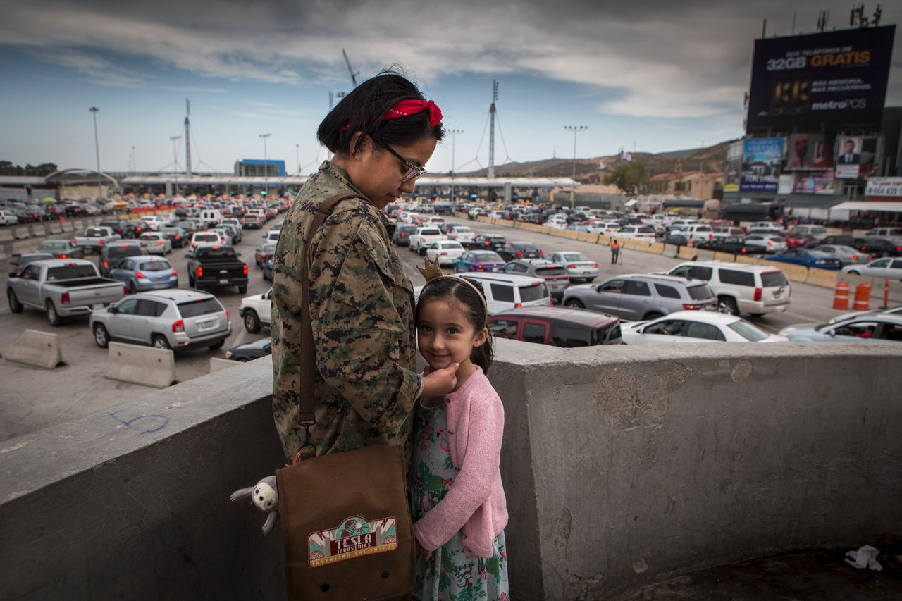Pamela Pena, 25, with her niece Vistoria Cronel, 5. Pamela crosses the border at least once a week to study dentistry. She was born in San Diego but lives in Tijuana.