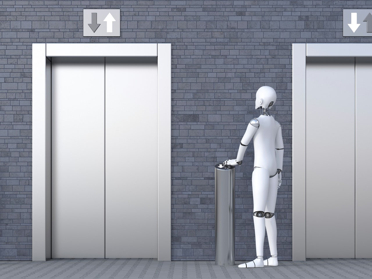 Robot waiting for elevator.