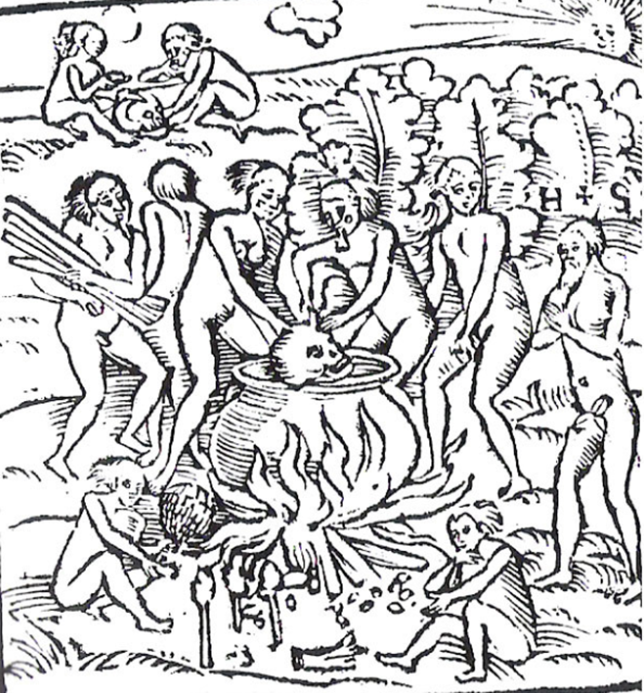 Woodcut of the Tupinambá during a cannibalistic feast by Hans Staden. Staden is the bearded man on the far right.