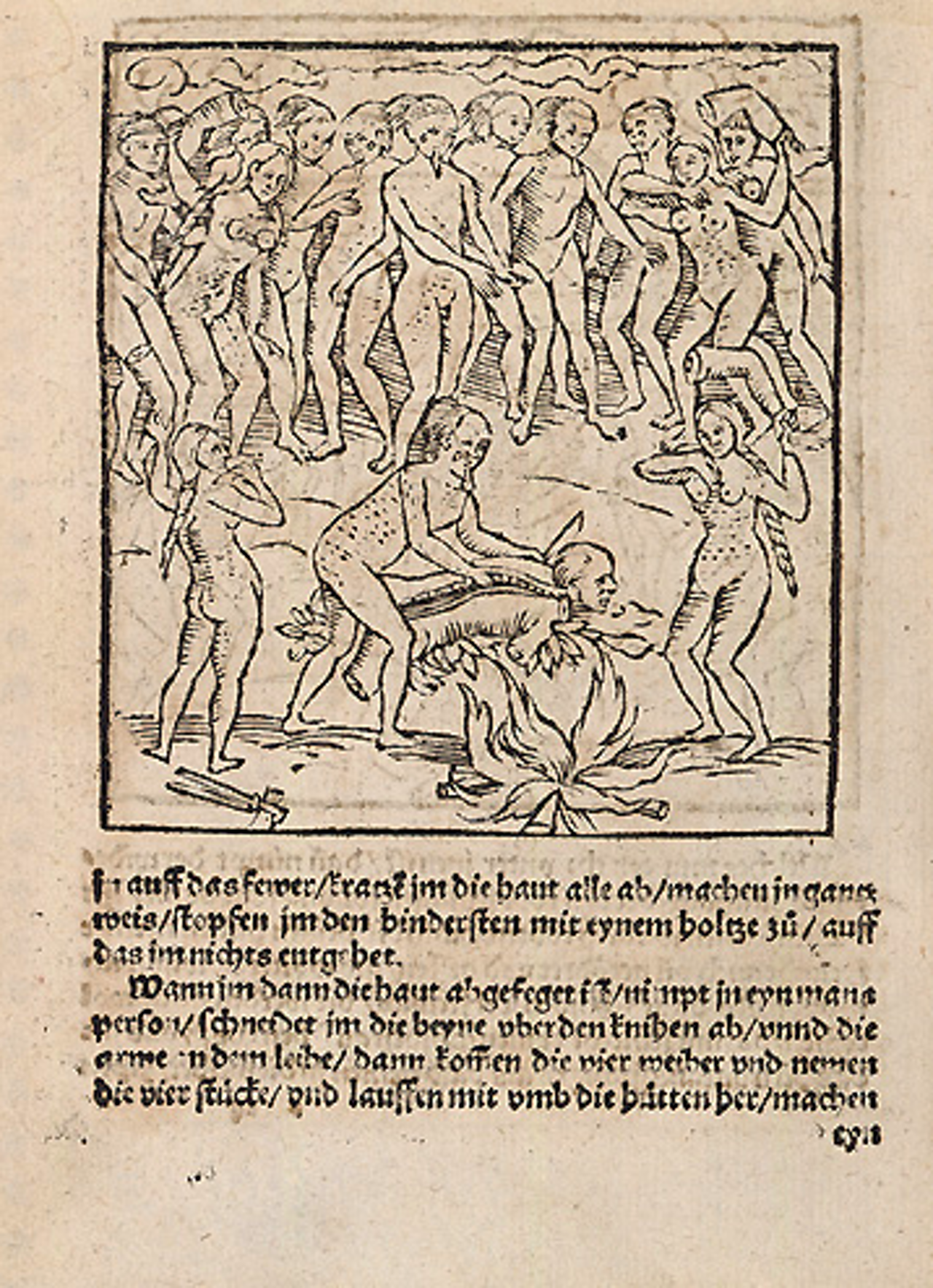 Illustration of cannibalism as described by Staden, circa mid-16th century.
