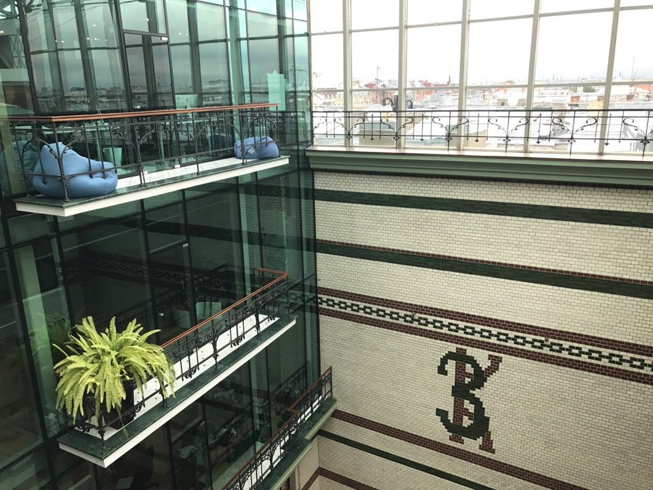 The atrium at Singer House, with VK's office on the left.