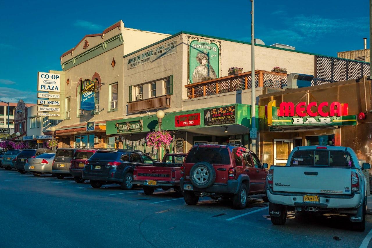 Restaurants and other business line a downtown Fairbanks, Alaska street.