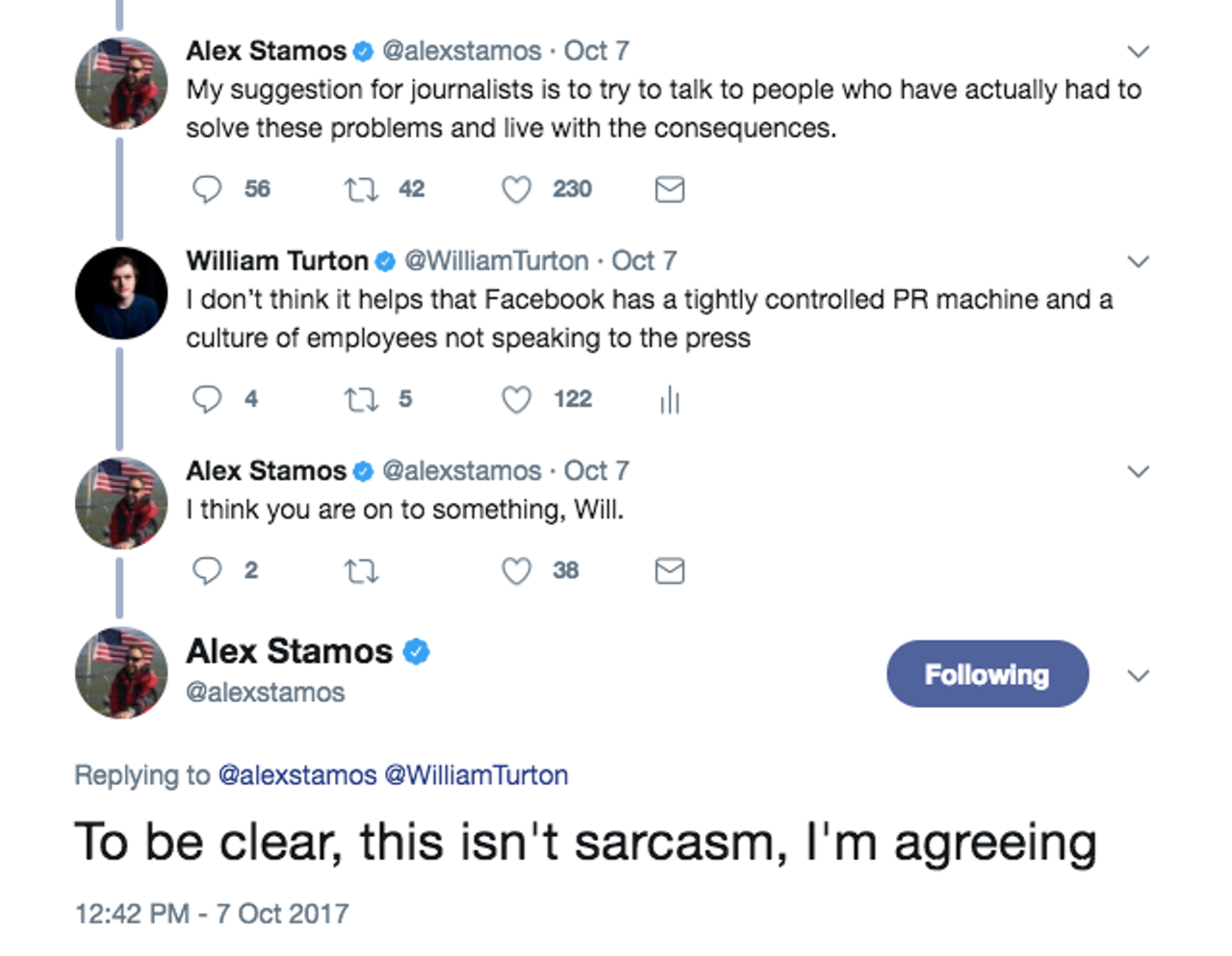 Facebook's Chief Security Officer Alex Stamos on Twitter.