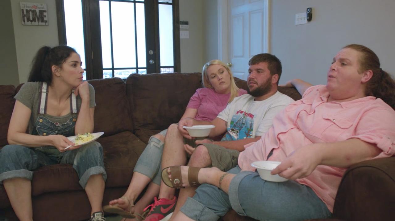 Silverman talks politics with the Standers family of Chalmette, LA.