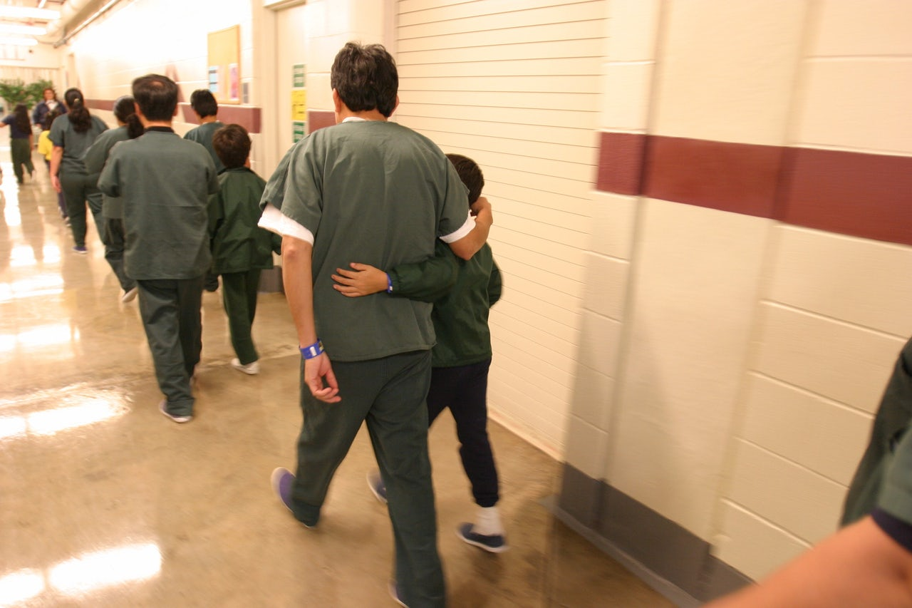 Families and children inside the T. Don Hutto Residential Center, an ICE detention facility, in Taylor, Texas.