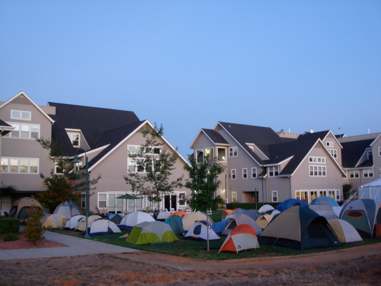 Tents on the lawn at foo camp in 2009 at the O'Reilly Media offices in Sebastopol, California.