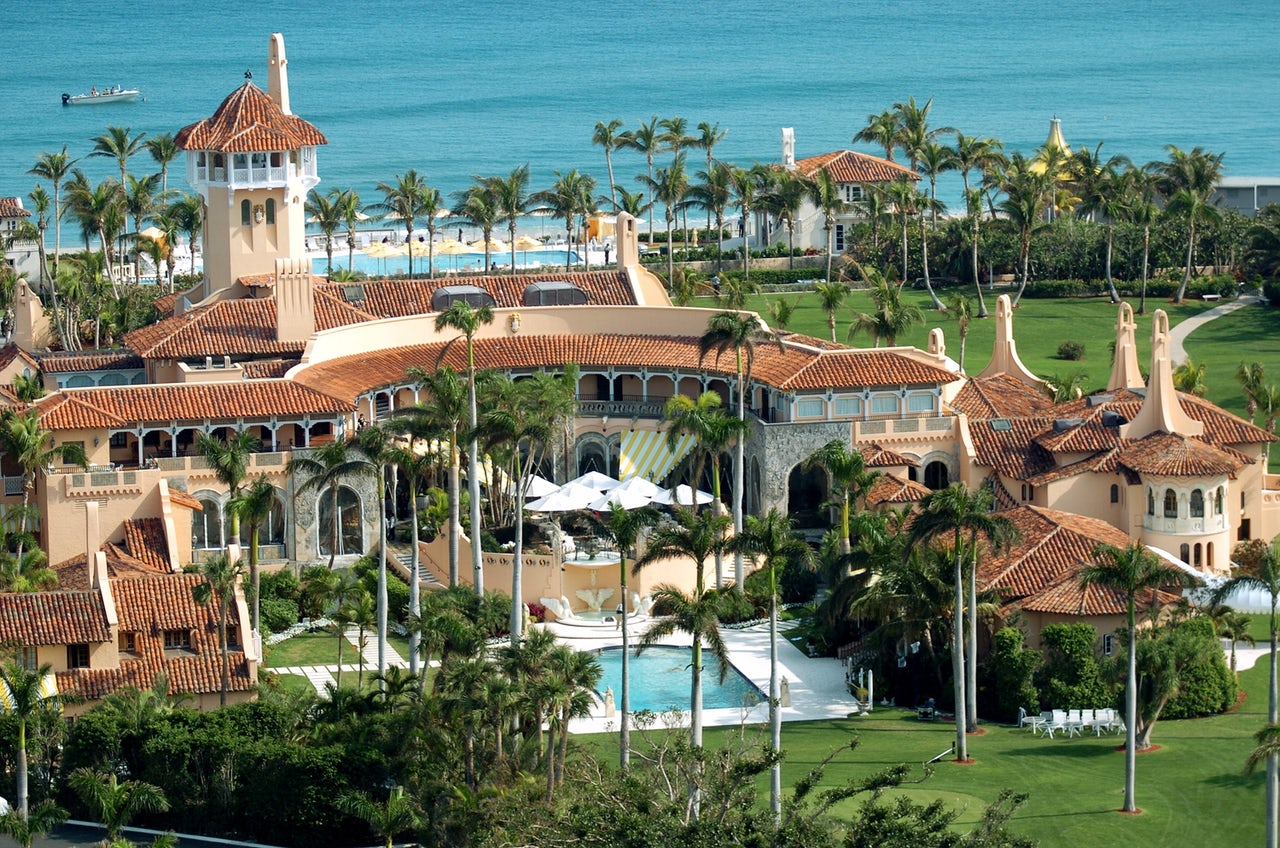 Aerial view of Mar-a-Lago, private club where Donald Trump has been spending weekends as President. In May, ProPublica found that the club's Wi-Fi network had outdated security.