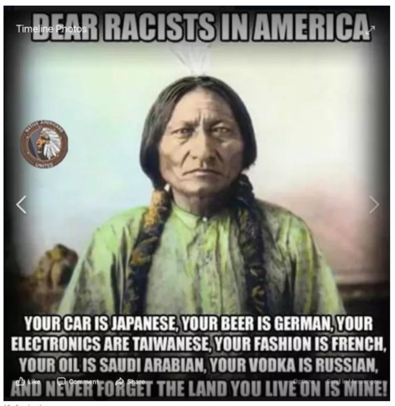 One of the memes created by @Native_Americans_United_ and shared on Facebook.
