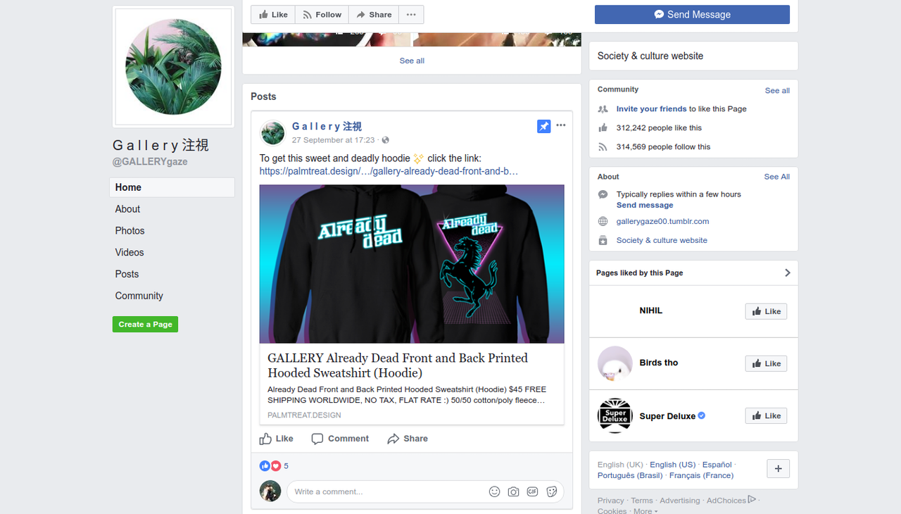 G a l l e r y 注視 posts memes, but also links to web stores that sell vaporwave-themed merchandise.