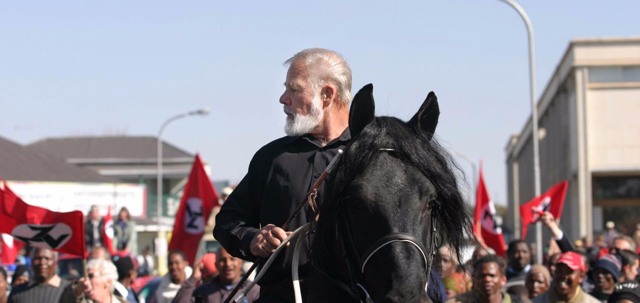 Terre'blanche leaves prison on his horse on June 11, 2004.