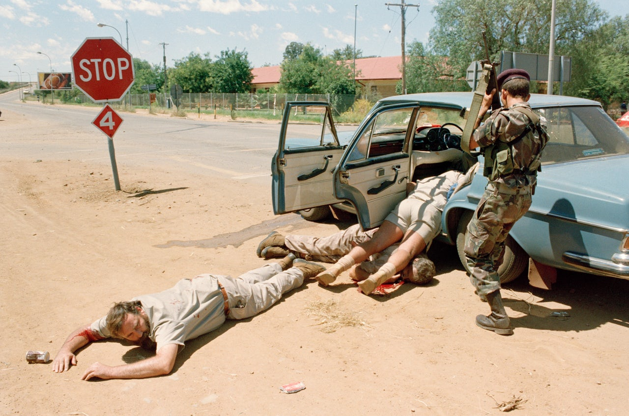 Wounded members of AWB following a shootout with Bophuthatswana Defence Force in 1994.