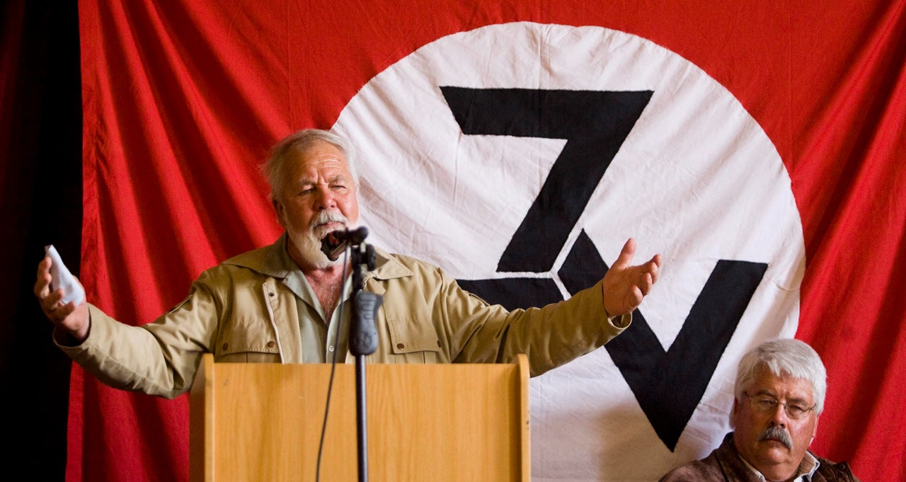 Eugene Terre'Blanche addressing AWB members on October 10, 2009 in Ventersdorp, South Africa.