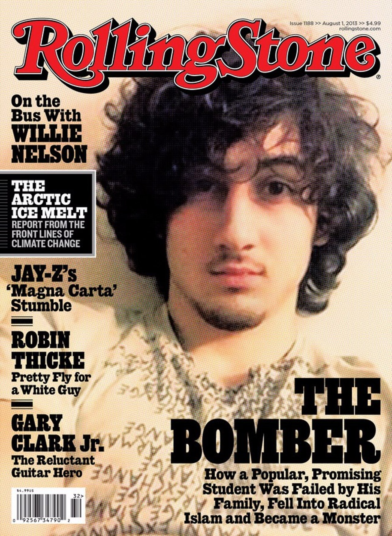 The August 2013 cover of Rolling Stone featuring Dzhokhar Tsarnaev, one of the brothers responsible for the bombing of the Boston Marathon in April of that year.
