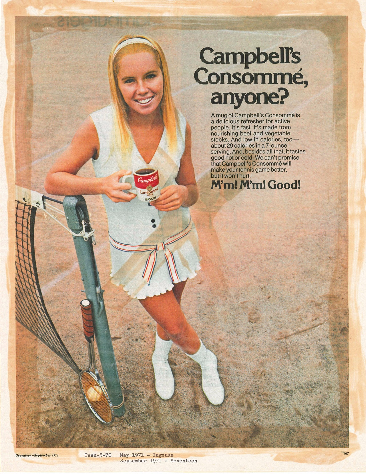 This 1971 Campbell's ad recommends sipping cold consommé, but does not tell us whether that qualifies as sipping a food or a drink.