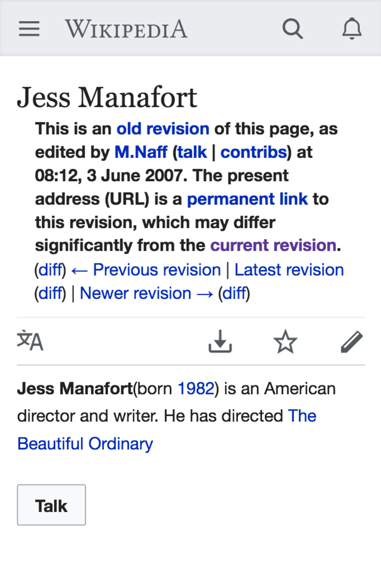 The original version of Jess Manafort's Wikipedia entry, created in 2007.