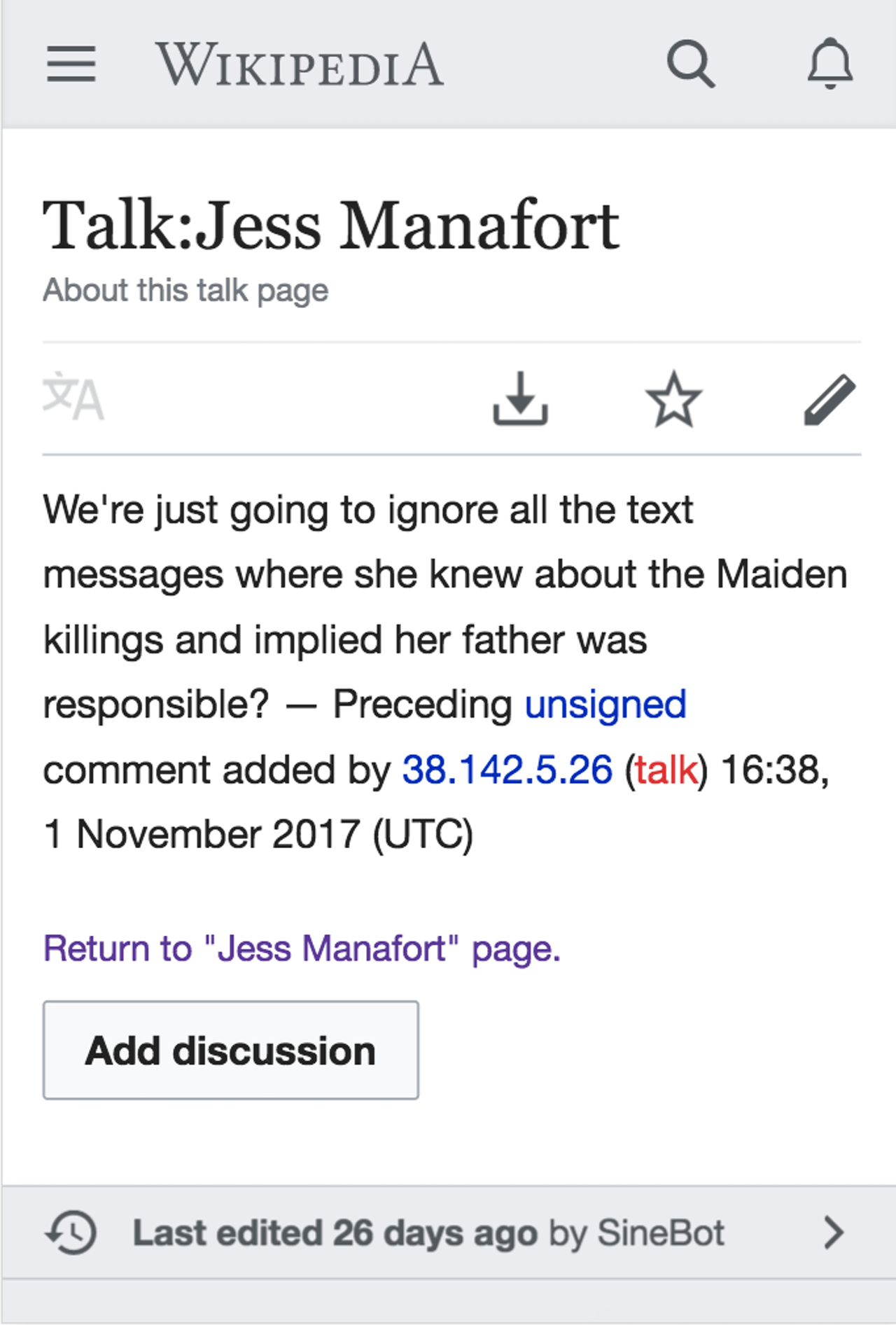 One Wikipedia user had questions about the breadth of Jess Manfort's entry.