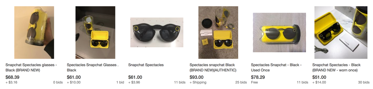 Snapchat Spectacles for sale on eBay.