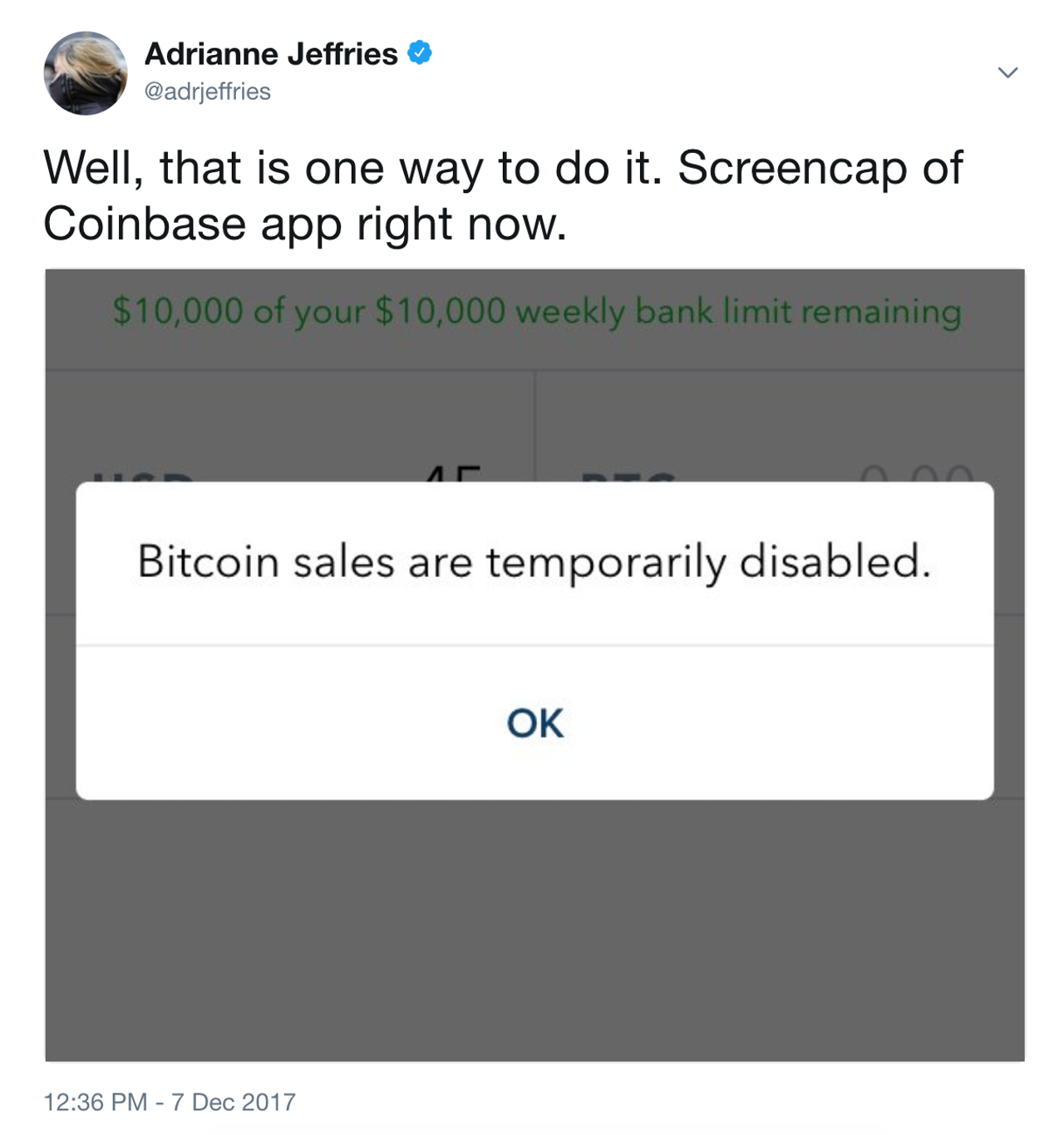 "A screenshot of the Coinbase app as it displayed an error: ""Bitcoin sales are temporarily disabled."""