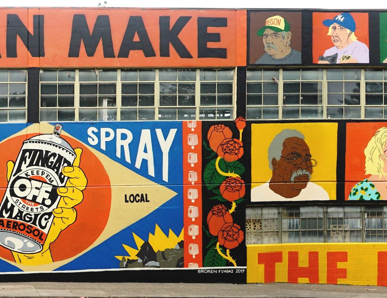Broken Fingaz mural in Portland