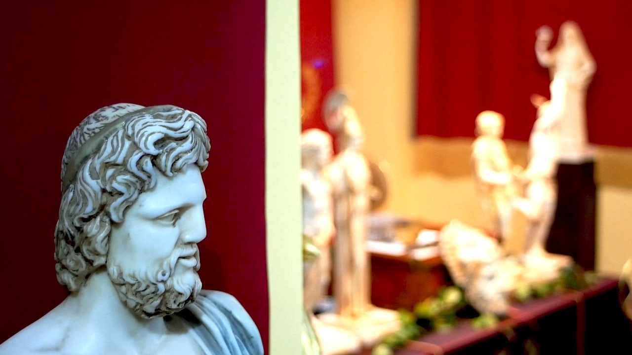 A bust of Zeus sits in the YSEE temple.