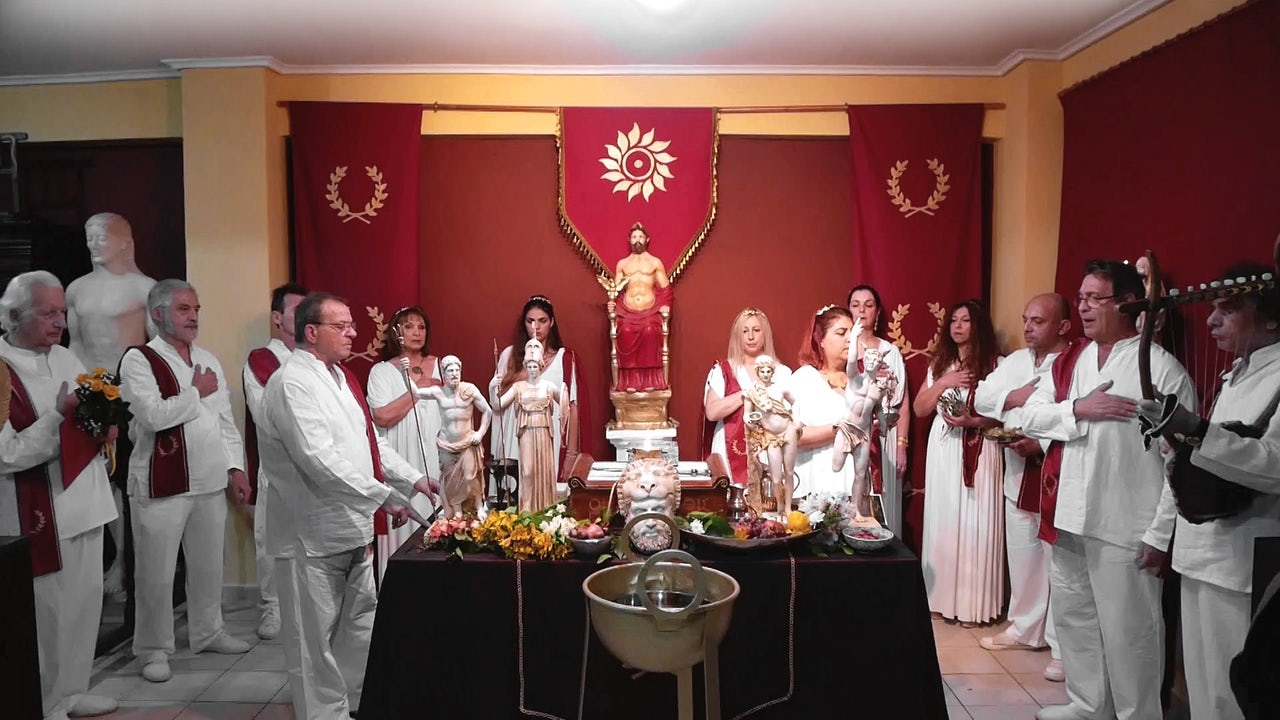 Priests and priestesses perform a ceremony at the YSEE church.