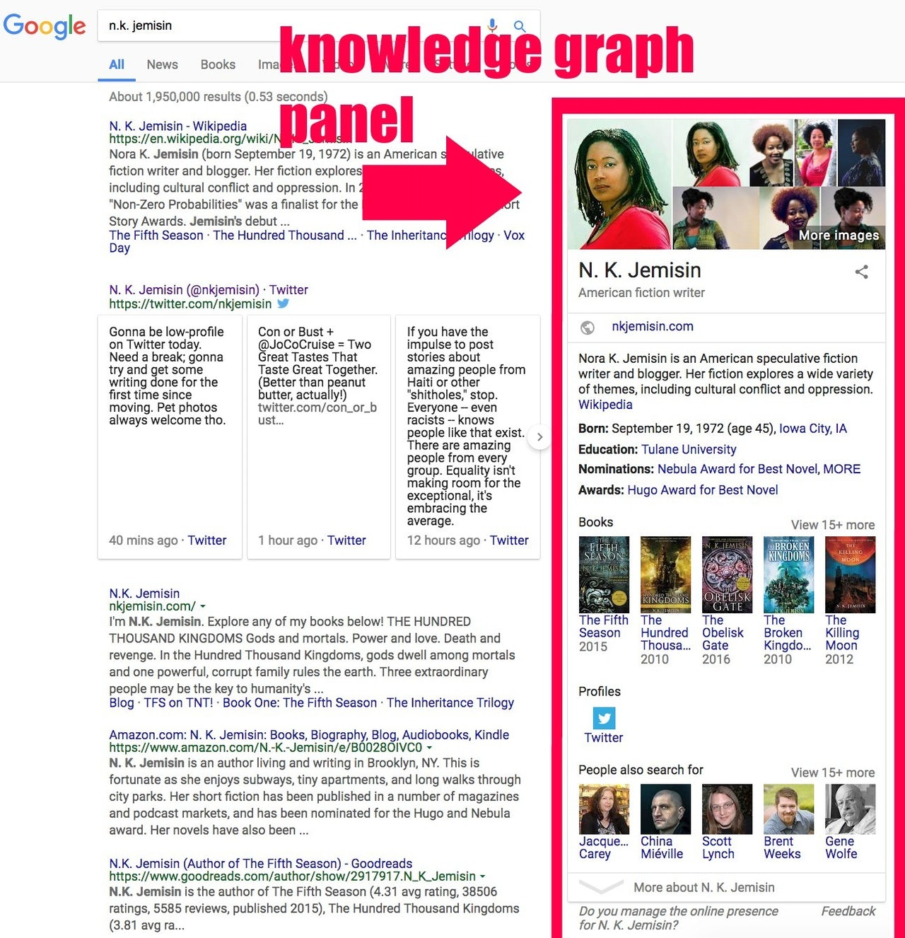 A search for author N.K. Jemisin on January 12, 2018 pulls up results from Google's Knowledge Graph in a neat panel on the right margin next to the search results.