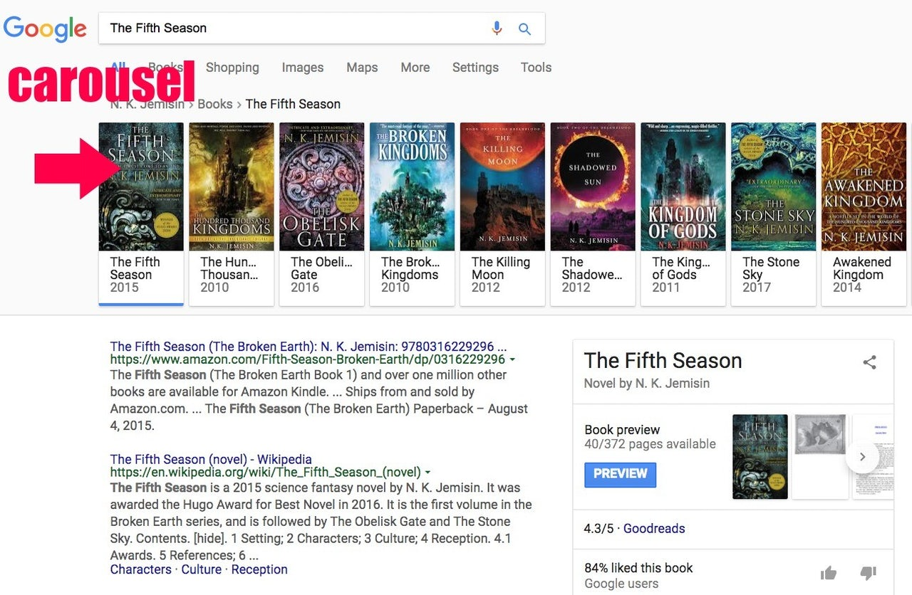 "The carousel of sci-fi books by N.K. Jemisin and related titles that pops up at the top of Google search results for her book, ""The Fifth Season"" on January 12, 2018."