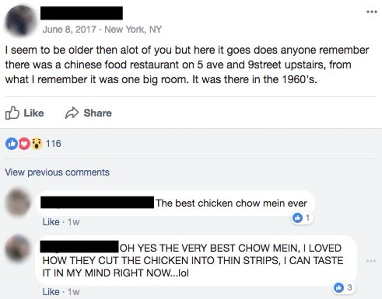 A screencap from a neighborhood Facebook group discussing a defunct Chinese restaurant.