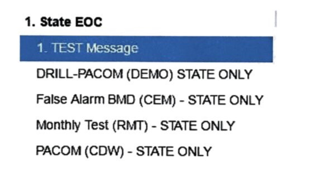 "Hawaii officials told Civil Beat that this image better represents what the employee who sent a false missile alert would have seen — except for the ""false alarm"" option, which was added after the incident."