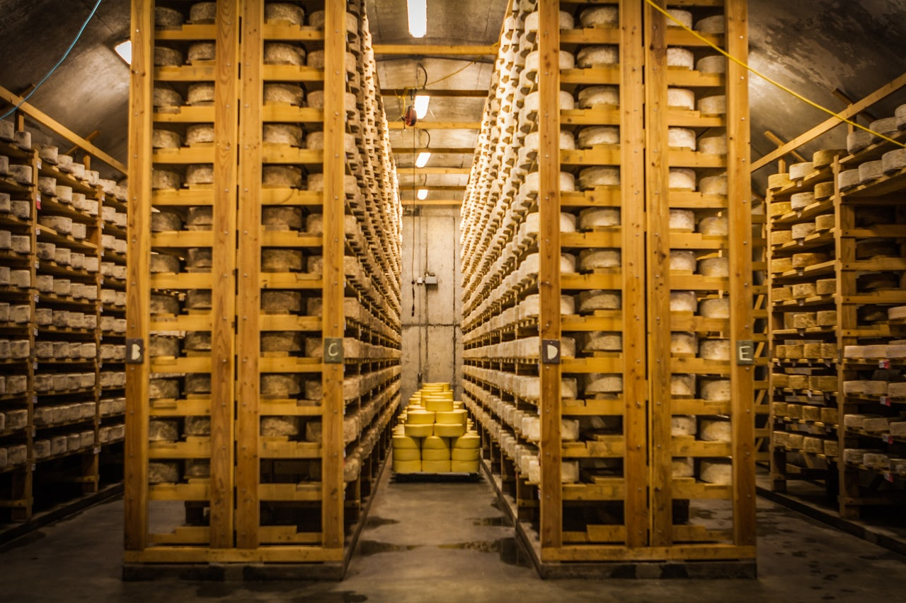 The cheese cellar at artisanal cheese maker Jasper Hill Farm.