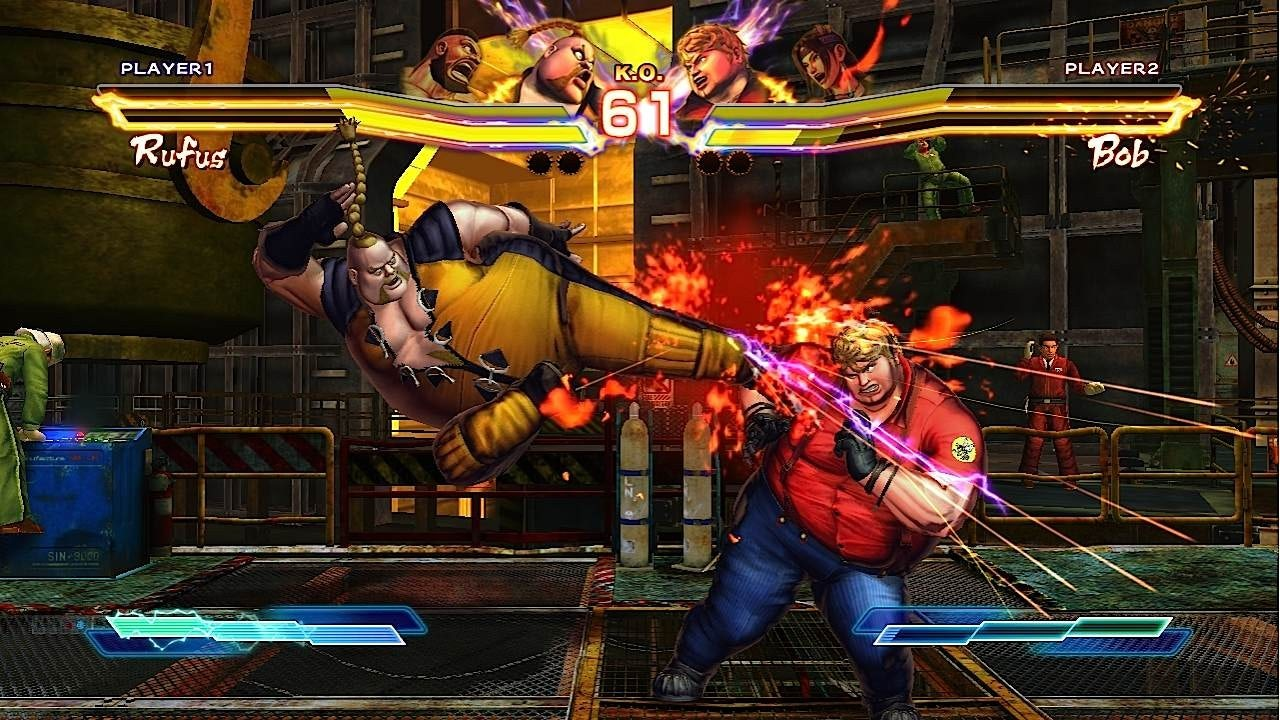 Rufus and Bob square off in Street Fighter X Tekken.