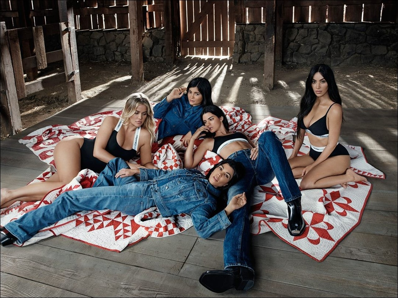 The Kardashian-Jenners in a totally normal meeting spot for Calvin Klein's #MyCalvin's campaign.