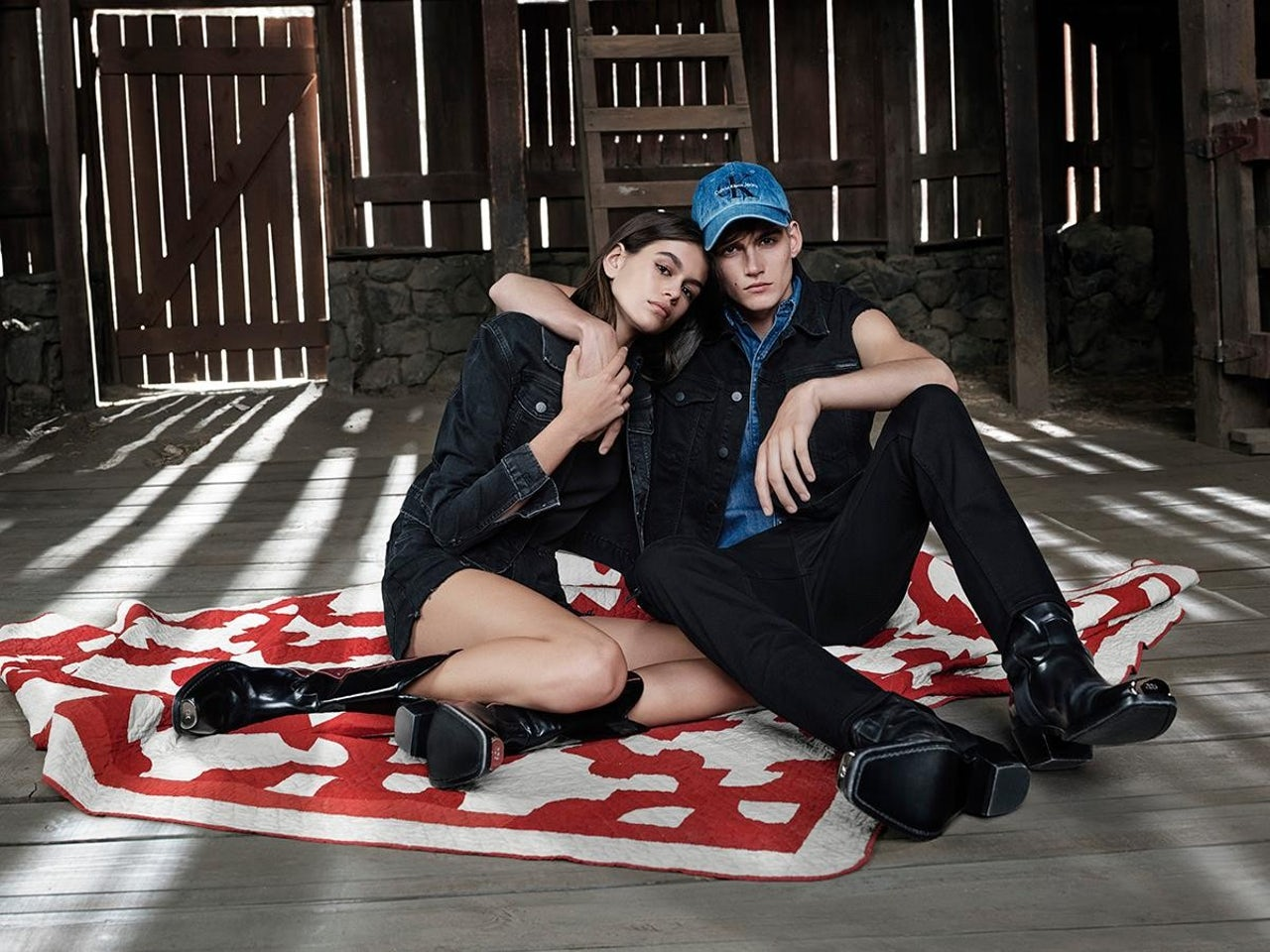 Models Kaia and Presley Gerber in the Calvin Klein family barn.
