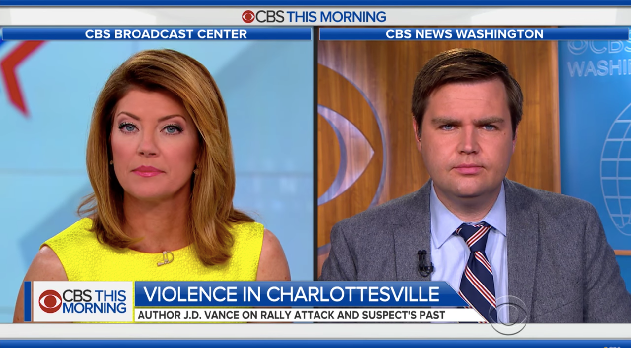Vance in an interview for CBS on white supremacist violence in Charlottesville.