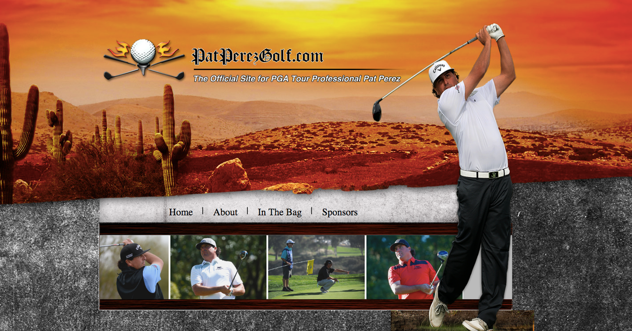 The homepage of Pat Perez's official website, which, just, oh my God.