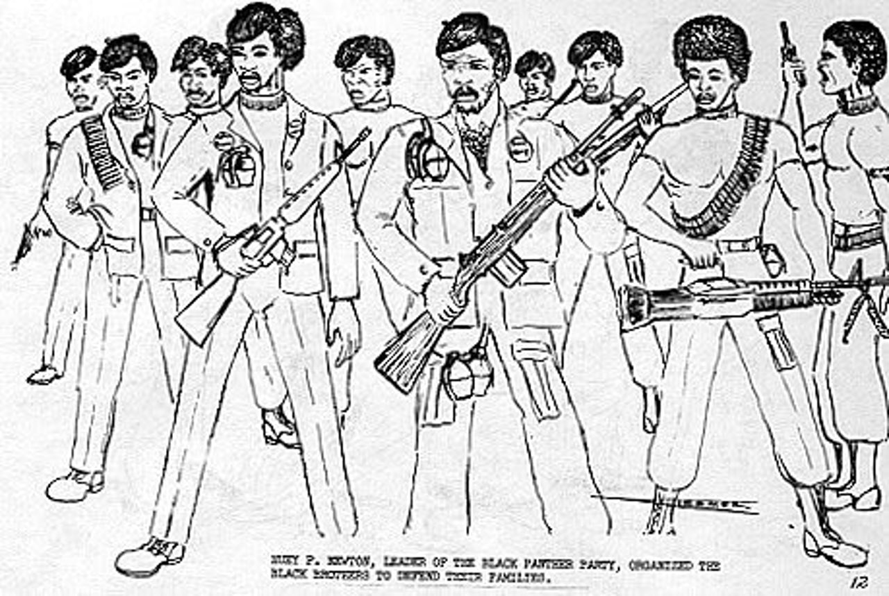 """Huey P. Newton, leader of the Black Panther Party, organized the Black Panthers to defend their families."""