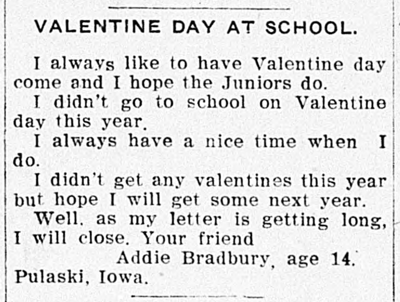 A 1908 letter to the Ottumwa Tri-Weekly Courier.