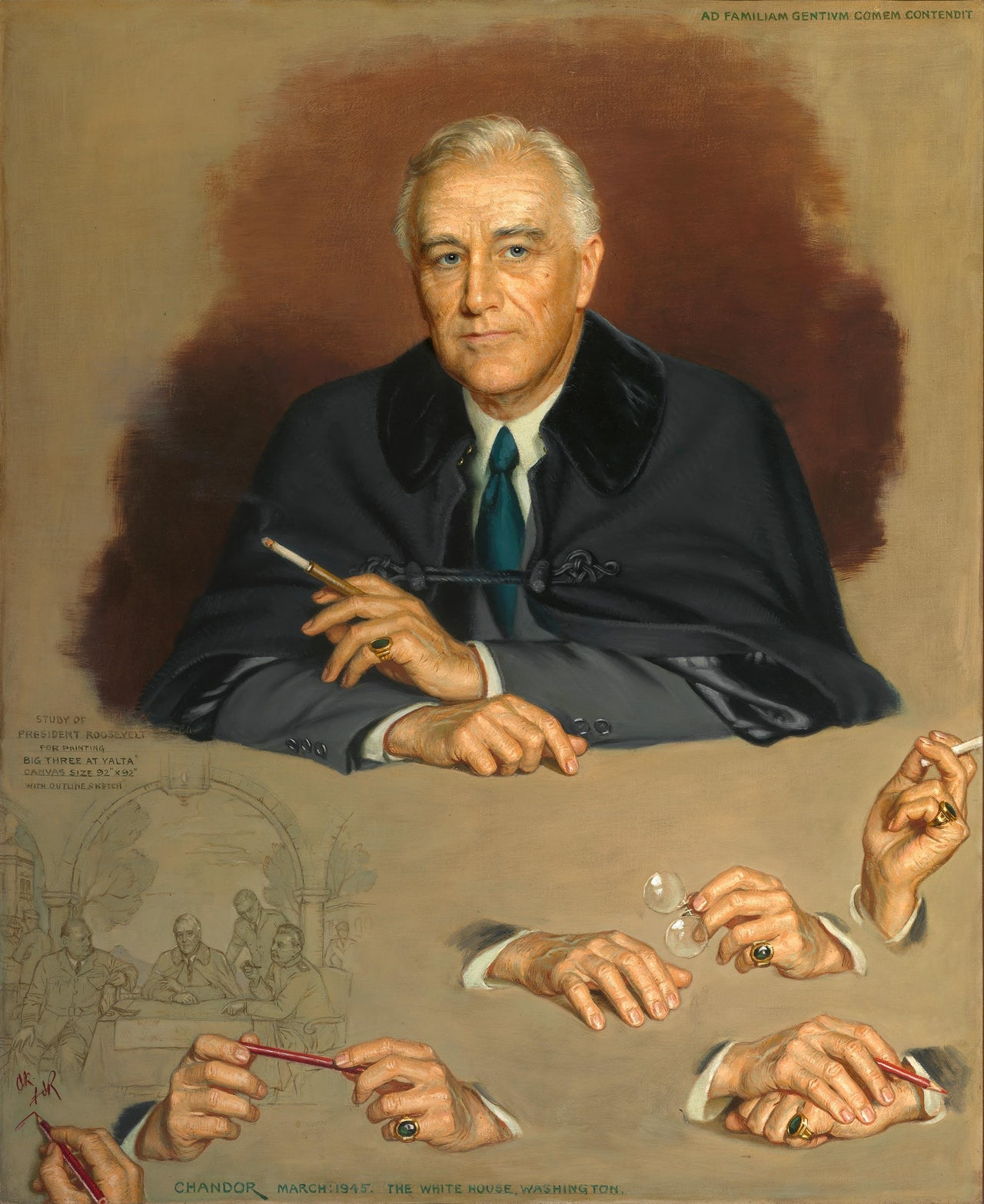 The portrait of FDR that is hanging in the Portrait Gallery's hall of presidents.