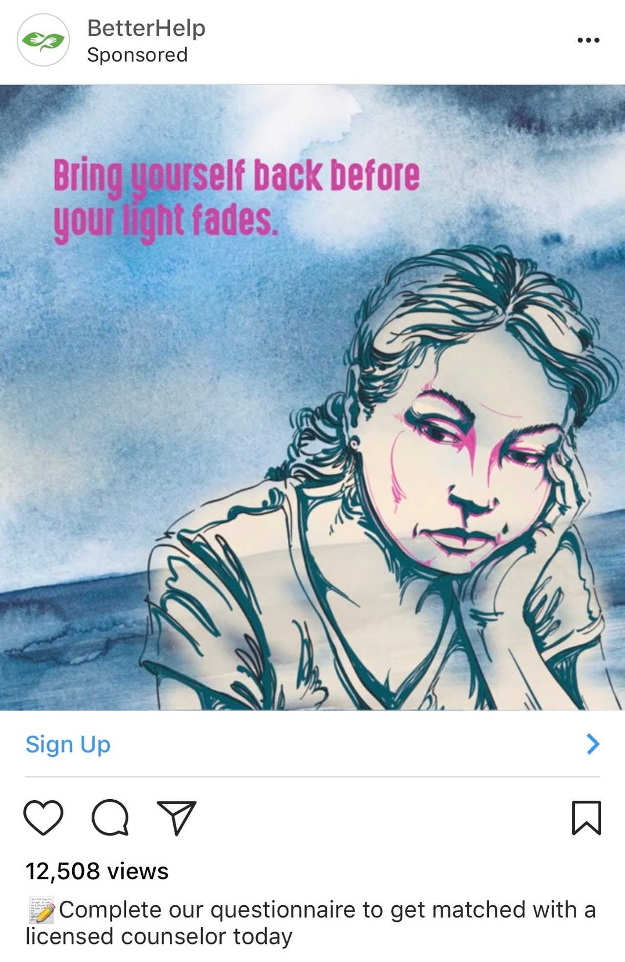 An ad for BetterHelp on Instagram.