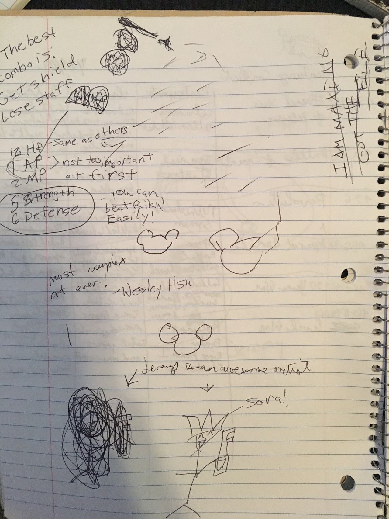 Amateur 'Kingdom Hearts' strategy guide in math notebook.